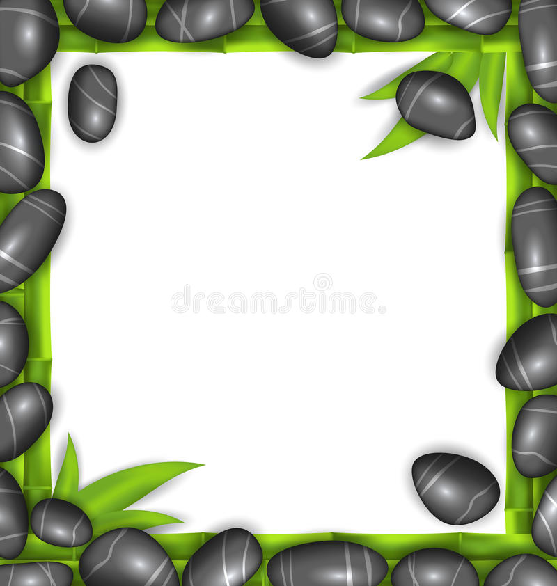 Frame Made Stones and Bamboo, Spa Background. Illustration Frame Made Stones and Bamboo, Spa Background, Copy Space for Your Text - Vector royalty free illustration
