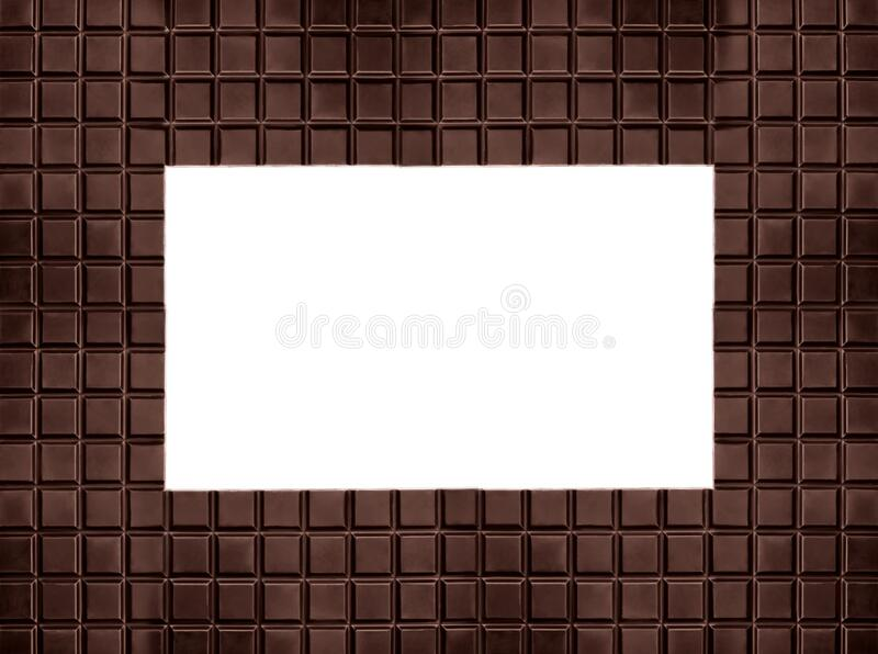 Frame made of tasty black chocolate on background, space for text royalty free stock photo