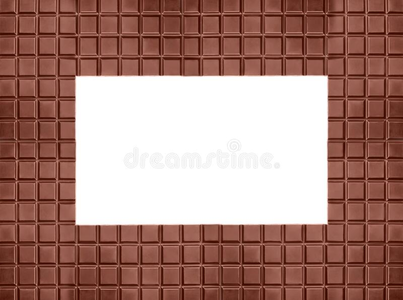 Frame made of tasty milk chocolate on background, space for text stock photo