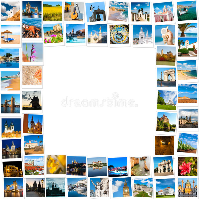 Frame made of travel pictures stock photography