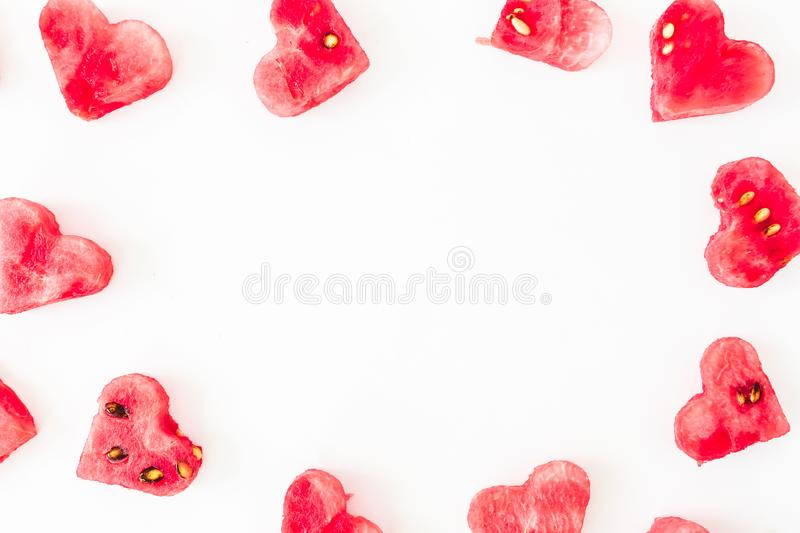 Frame made of watermelon slice on white background. Flat lay, top view. stock images