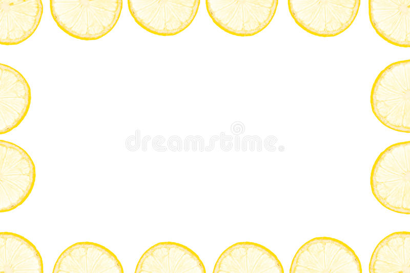 Frame made of yellow lemon slices royalty free stock image