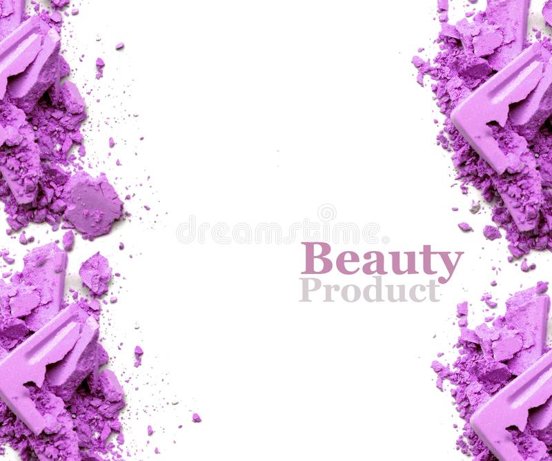 Frame make up purple crushed powder with space for text. stock photography