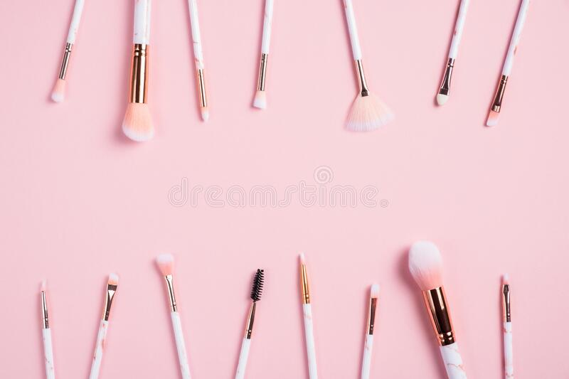 Frame Of Makeup Brushes On Pink Background Beauty Salon Banner Mockup Flat Lay Top View Stock Photo Image Of Mockup Cary 186619638