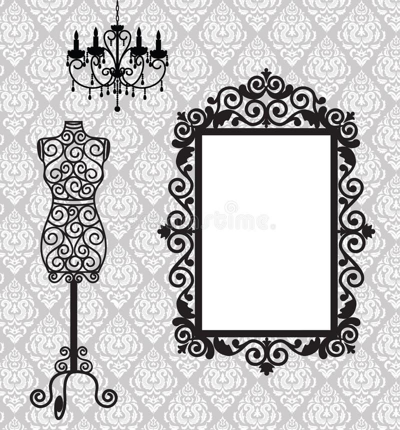 Frame, mannequin and chandelier. Antique frame, mannequin and chandelier royalty free illustration