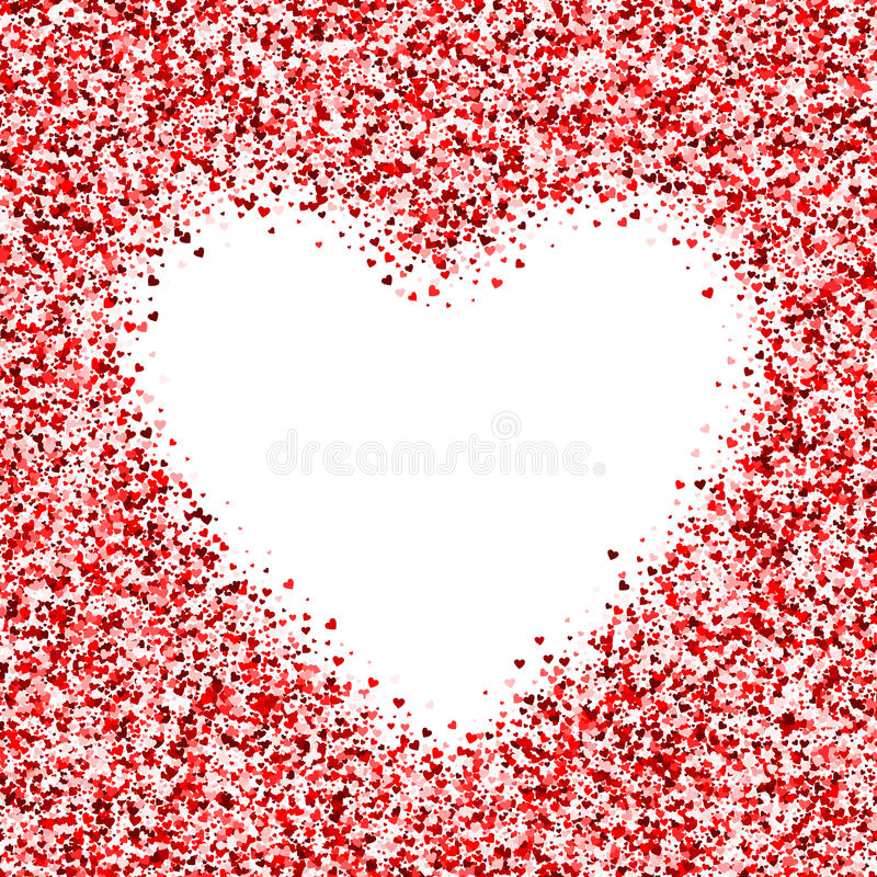 Frame with many hearts. Greeting Red frame. Border confetti for Valentine`s day vector illustration