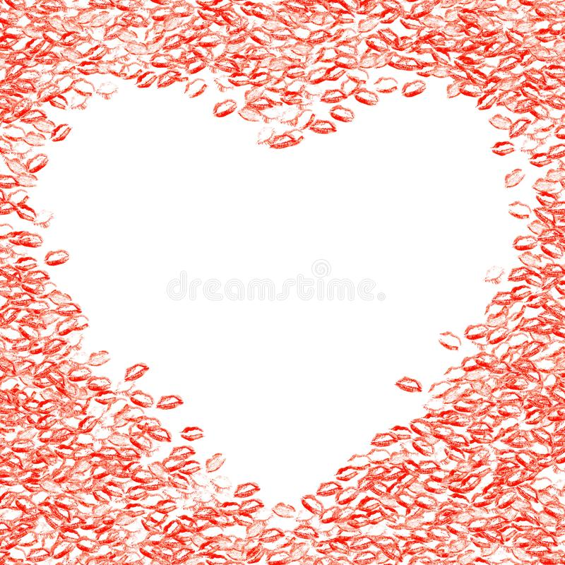 Frame with many kisses. Greeting card with lips. Red frame of li royalty free stock photo
