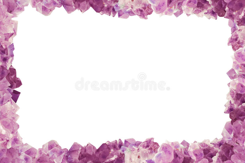 Frame with many stones Amethyst, border center isilated Backgro stock images