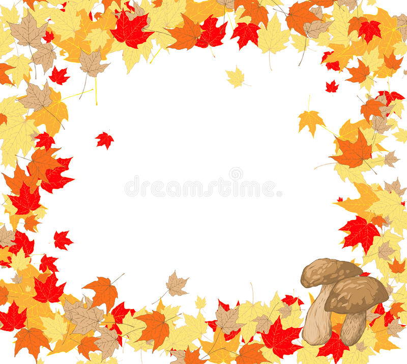 Download Frame Of Maple Leaves And Mushrooms Stock Vector - Illustration: 25526375