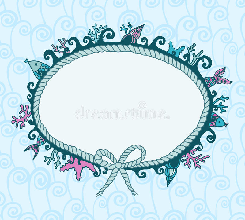 Download Frame in maritime style stock vector. Illustration of blue - 24139035