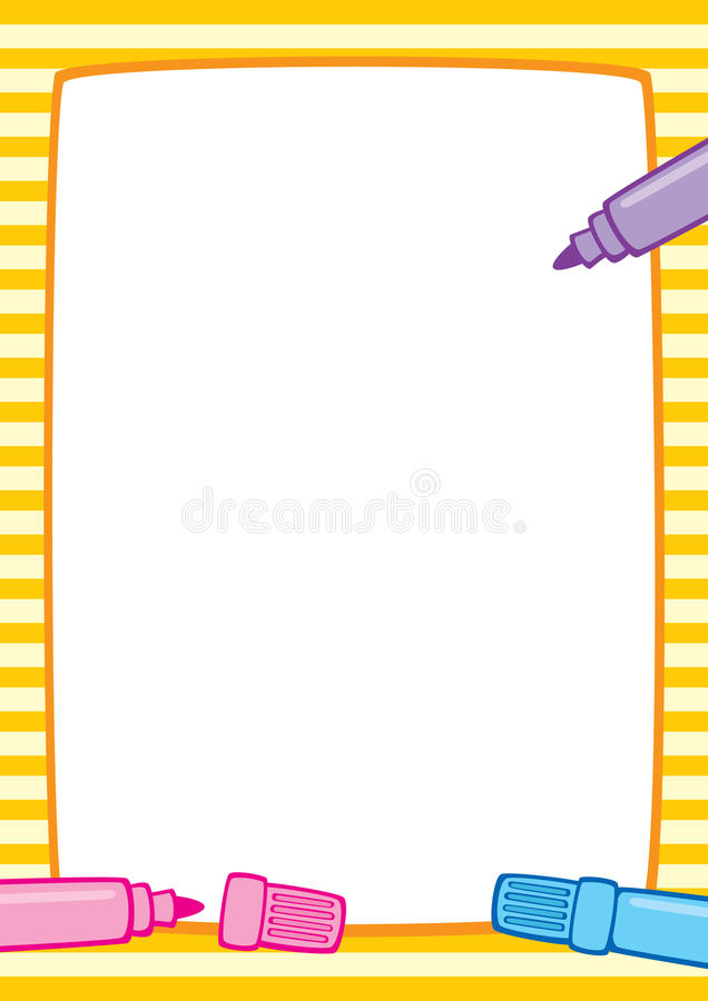 Frame And Markers, White Background A3/A4 Stock Vector ...