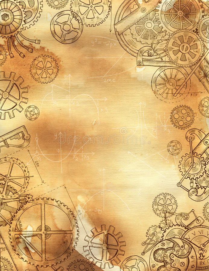 Frame with mechanical parts, gears and cogs on texture background royalty free illustration