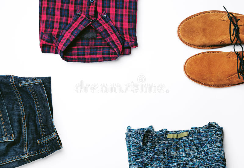 Frame of menswear on a white background. Top view, flat lay royalty free stock images
