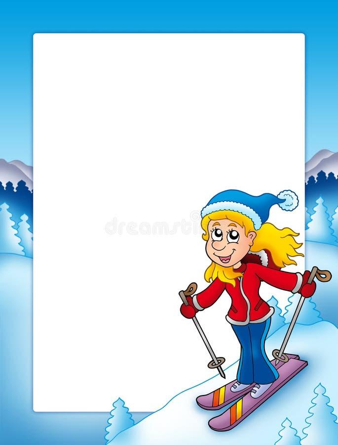 Frame met beeldverhaal skiånde vrouw royalty-vrije illustratie