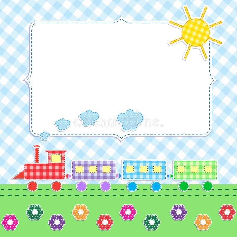 Frame met beeldverhaaltrein royalty-vrije illustratie