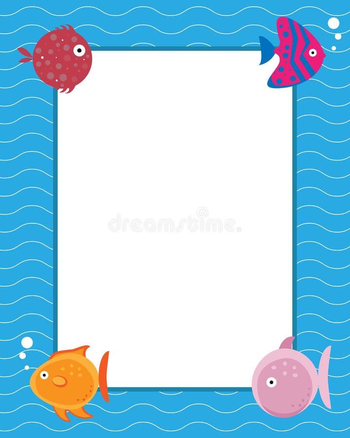 Frame met beeldverhaalvissen royalty-vrije illustratie