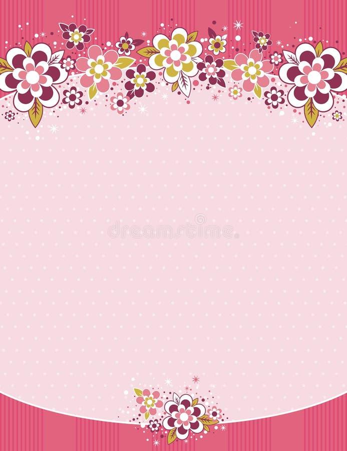 Frame met bloemen op achtergrond met punten stock illustratie