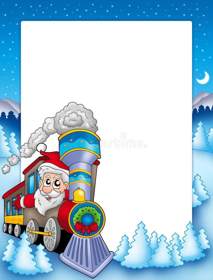 Frame met de Kerstman en trein stock illustratie