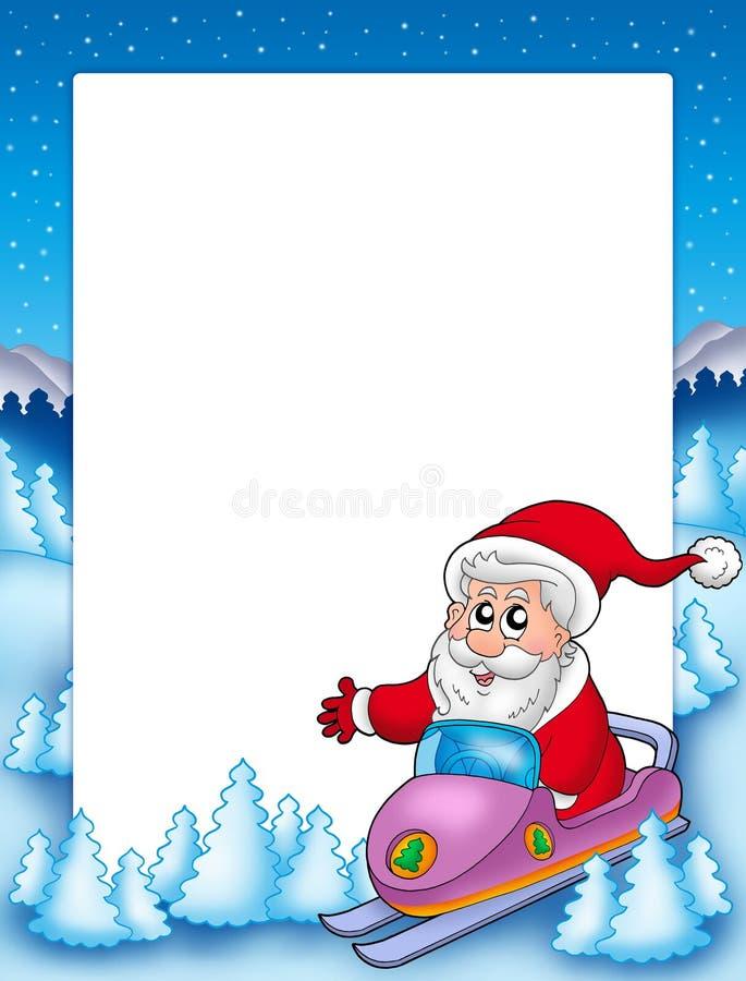 Frame met de Kerstman op autoped stock illustratie