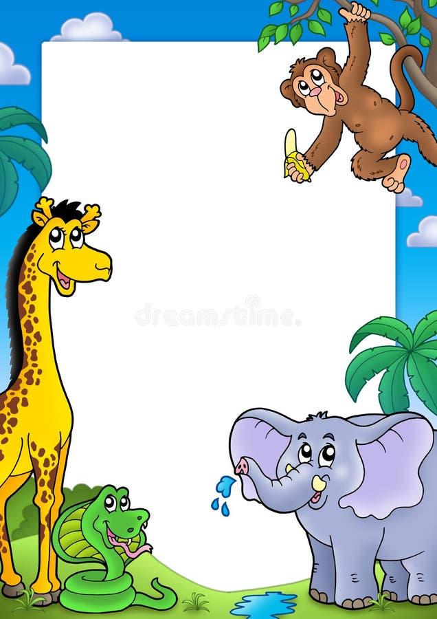 Frame met diverse Afrikaanse dieren vector illustratie