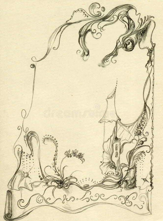 Frame met fairytaleplattelandshuisje stock illustratie