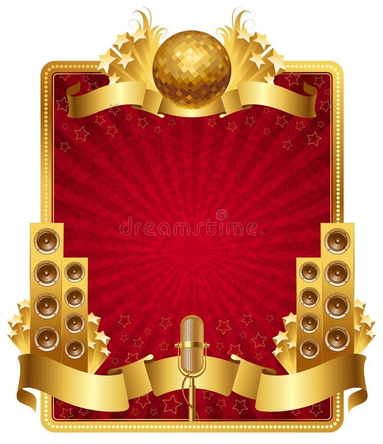 Frame met gouden muzikale voorwerpen stock illustratie