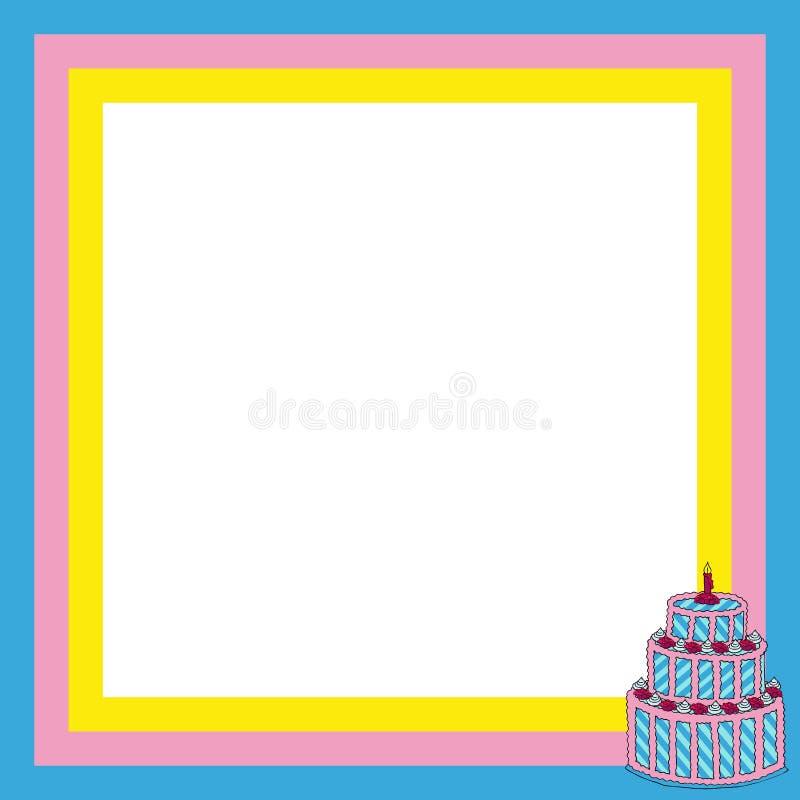 Frame met grote cake royalty-vrije illustratie