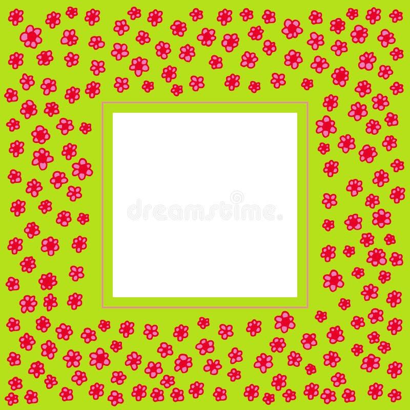 Frame met hand getrokken roze bloemen royalty-vrije illustratie