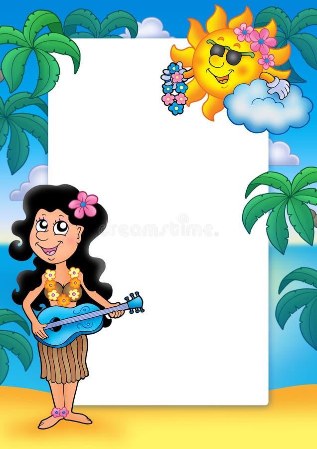 Frame met Hawaiiaans meisje vector illustratie
