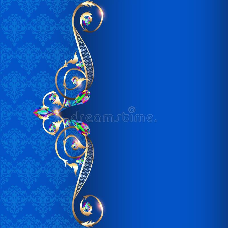Frame met juwelen en geometrische ontwerpen in goud vector illustratie
