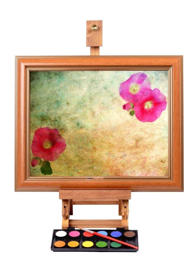 Frame met kleurrijk canvas stock afbeeldingen