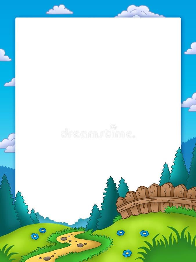Frame met landlandschap royalty-vrije illustratie