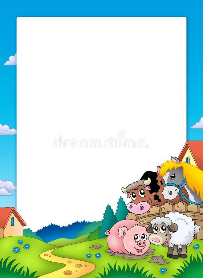 Frame met landschap en dieren royalty-vrije illustratie