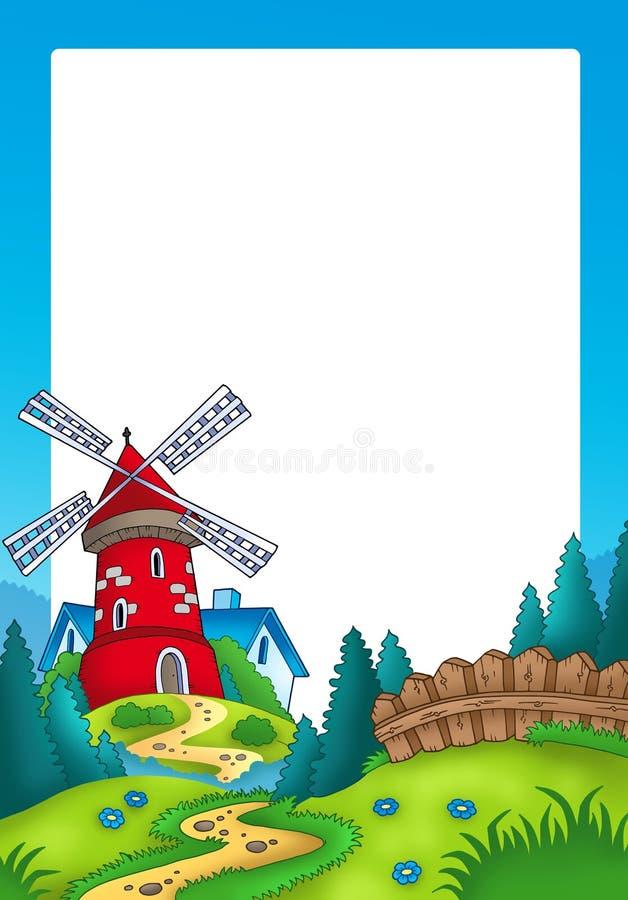 Frame met landschap en rode molen stock illustratie