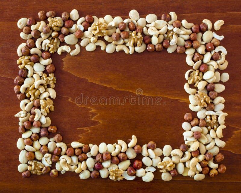 Frame met noten royalty-vrije stock afbeelding