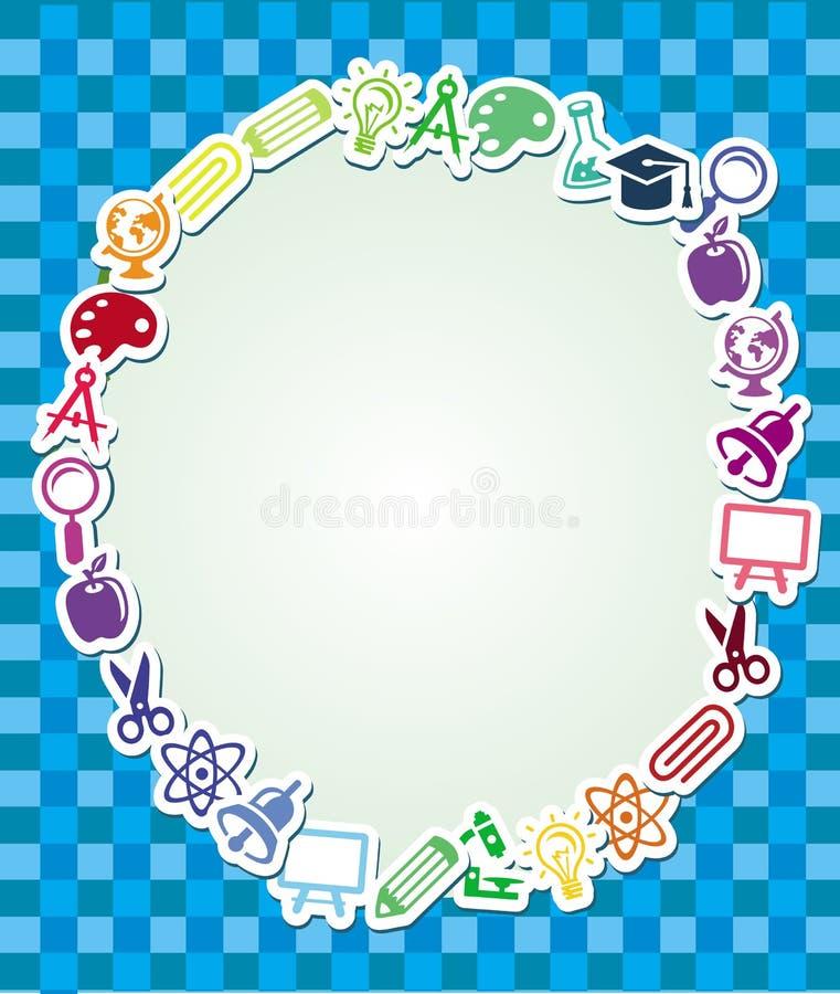 Frame met onderwijs en wetenschapssticker vector illustratie