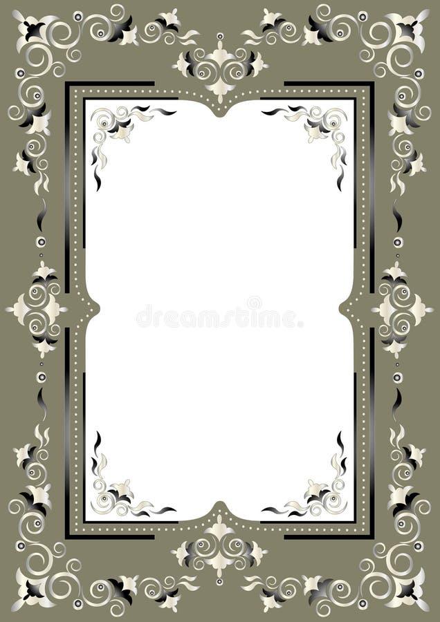 Frame met Oostelijk decor op een groenachtige grijze backgr vector illustratie