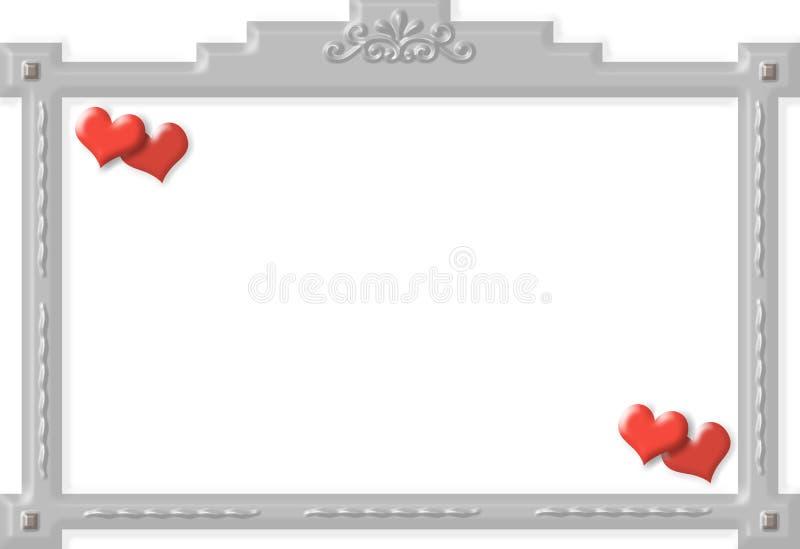 Frame met ornamenten en harten royalty-vrije illustratie