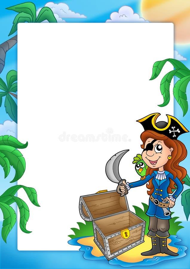 Frame met piraatmeisje op strand royalty-vrije illustratie