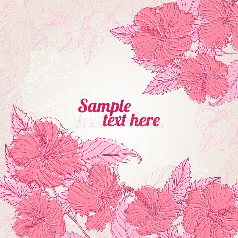 Frame met roze hibiscus vector illustratie