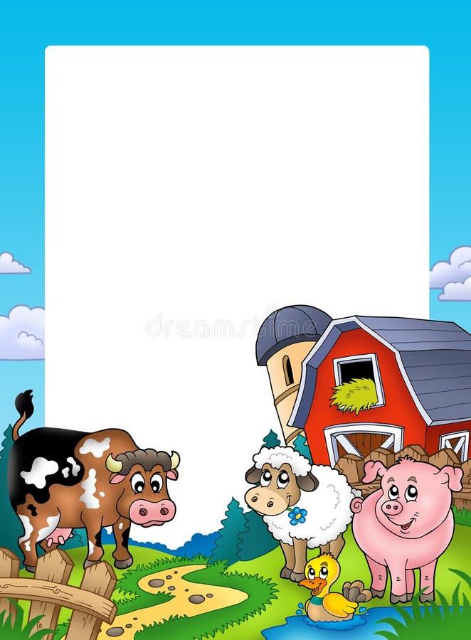 Frame met schuur en landbouwbedrijfdieren vector illustratie