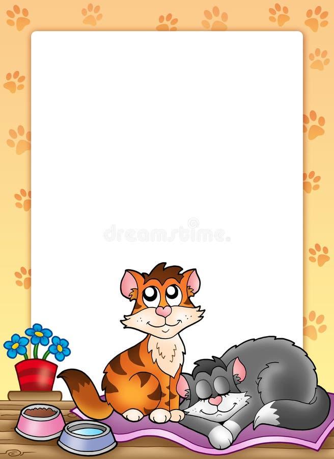 Frame met twee leuke katten vector illustratie