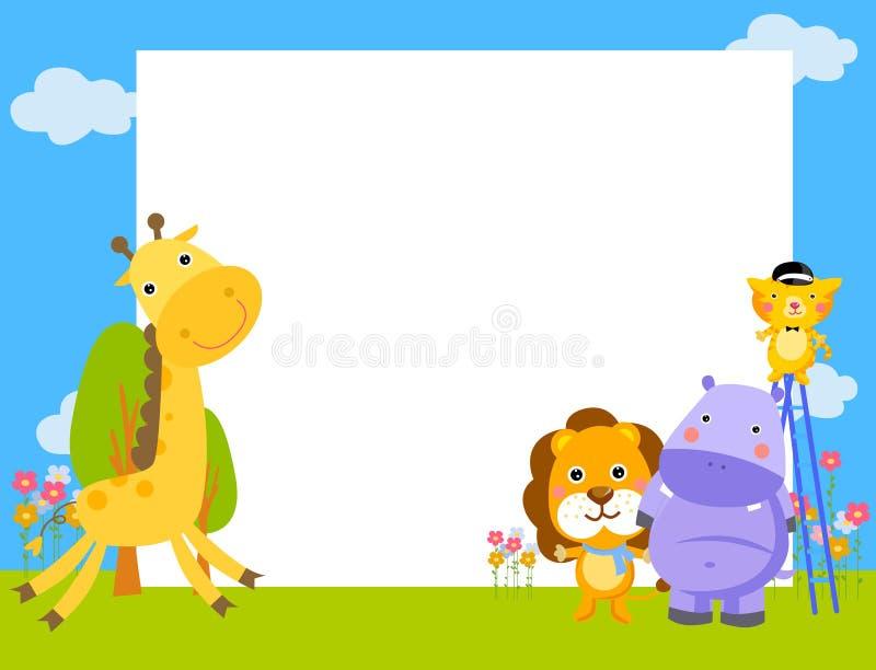 Frame met vier dieren vector illustratie