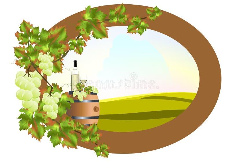 Frame met wijnstok en wijnvat vector illustratie