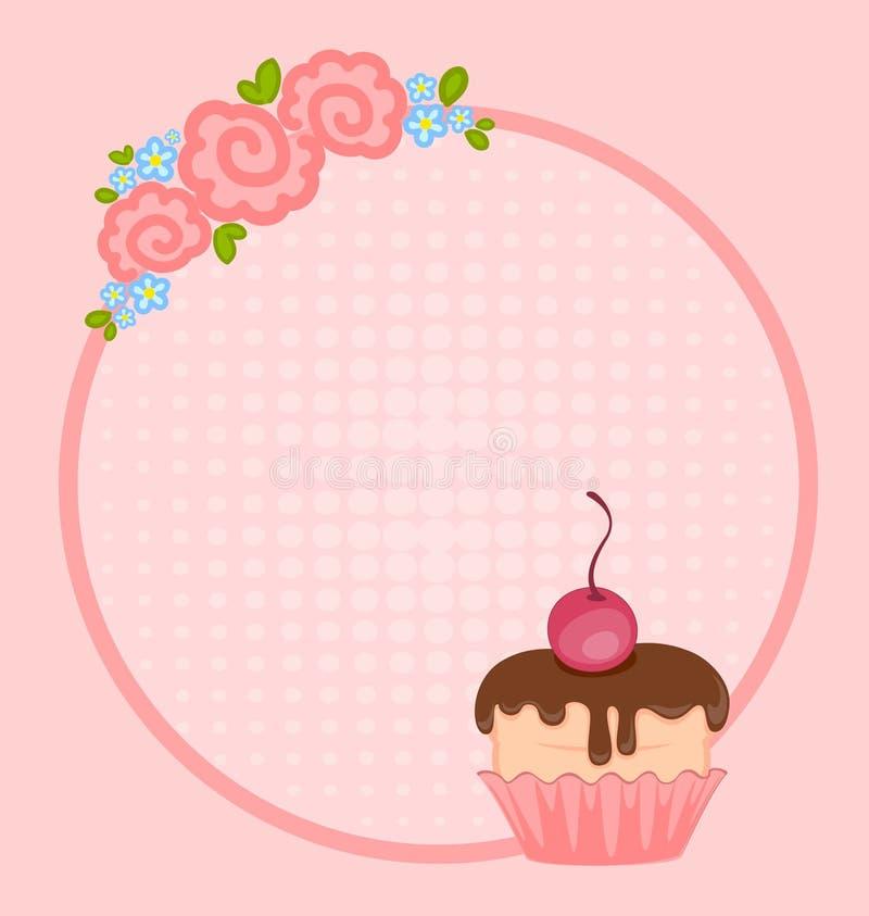 Frame met zoete cupcake stock illustratie