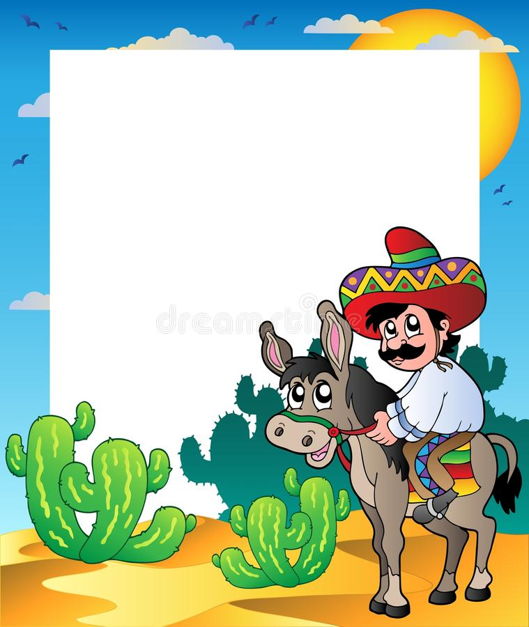 Frame with Mexican riding donkey royalty free illustration