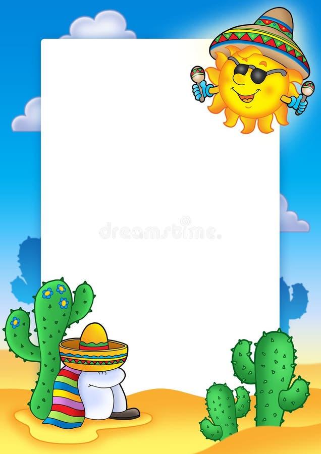 Frame mexicano com sol ilustração stock