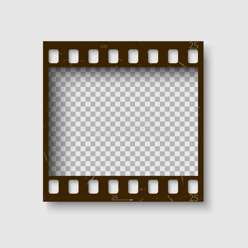 Frame of 35 mm filmstrip. Empty blanck Photo negative film. Camera roll template fot your design. stock illustration