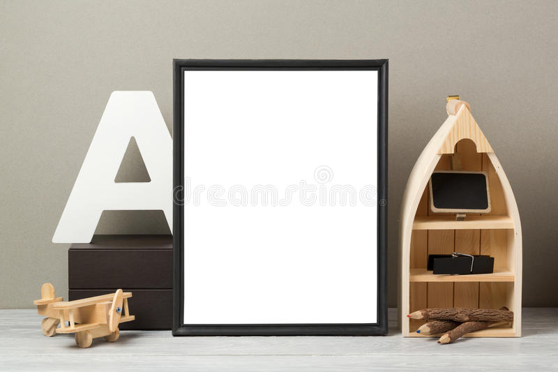 Frame mock up on table stock image
