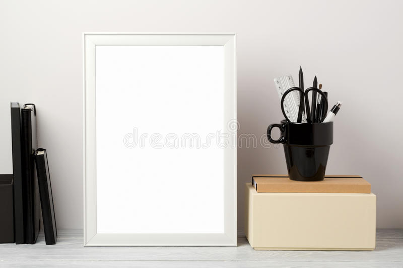 Frame mock up on table royalty free stock photo